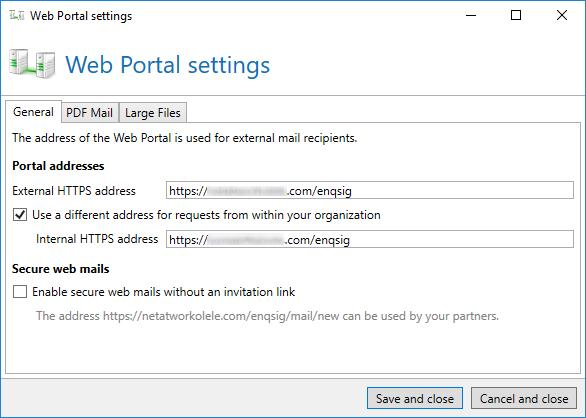 You can activate the section Secure web mails to enable the usage of the Web Portal without invitation link by the displayed address.