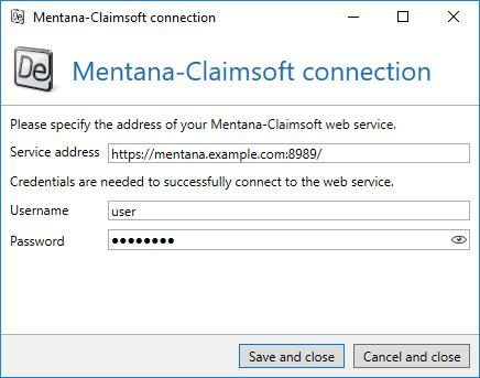 Picture 164: Connect to the Mentana-Claimsoft web service Enter the address via which the web service can be accessed in Service address.