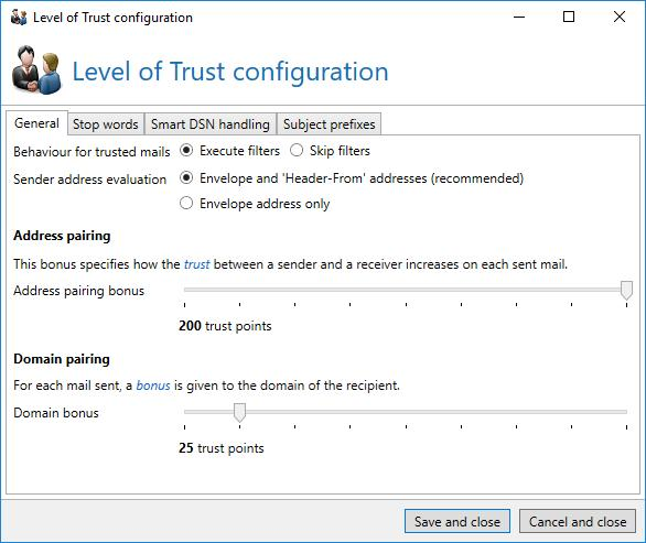 "The Level of Trust system must be activated per rule. The settings are, however, implemented globally in the menu ""Level of Trust"" (Picture 176)."