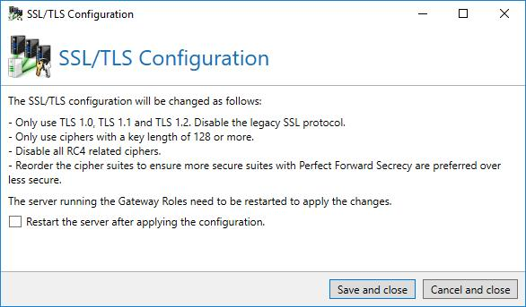Picture 183: Apply recommended settings for SSL/TLS configuration of Windows Furthermore, in this section, you have the possibility to recover the standard values of