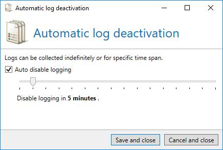 Troubleshooting Picture 187: Auto disable logging In the tab Debug settings, you can have additionally stored all mails to the hard drive before and after processing by