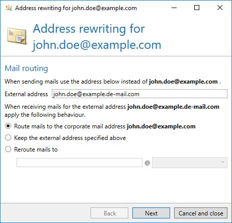 People and identities Picture 40: External and corporate mail addresses In the next step, it is selected for