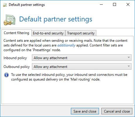 People and identities Partner Partner topic A partner entry defines how mails are supposed to be exchanged with external communication partners.