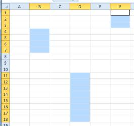 The screen should look similar to the following example: 4 Select an entire column by clicking on the column E header at the top of the worksheet.