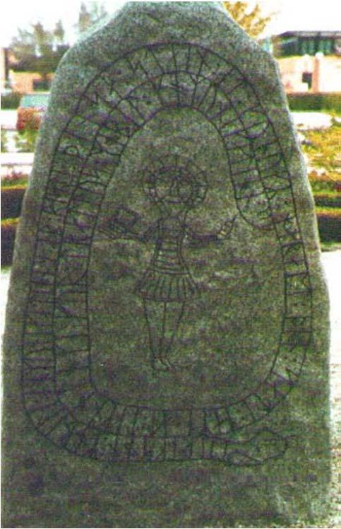 "Inscription: ""Harald king executes these sepulchral monuments after Gorm, his father and Thyra, his mother."