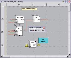 A tool palette provides direct access to the main functions: b Dynamic program animation b Setting of watchpoints or breakpoints (not authorized in event-triggered tasks) b Step-by-step program