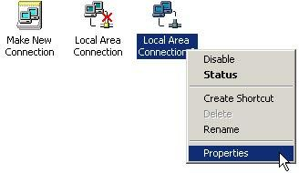 (2) Click [Local Area Connection] and right click and select