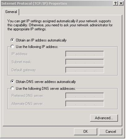 (4) Select [Obtain an IP address automatically], and [Obtain DNS