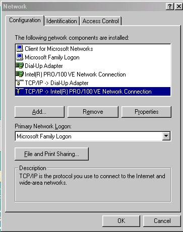 3.1.4 Windows 98/95/ME O/S The configurations in all Windows 98/95/ME are the same,
