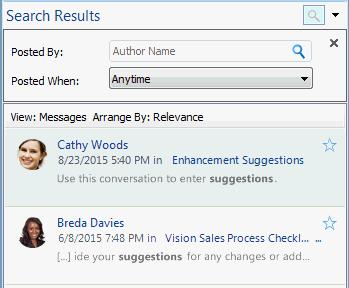 See the Oracle Social Network help: Outlook > Using Conversations > How do I find items in a Conversation or wall?