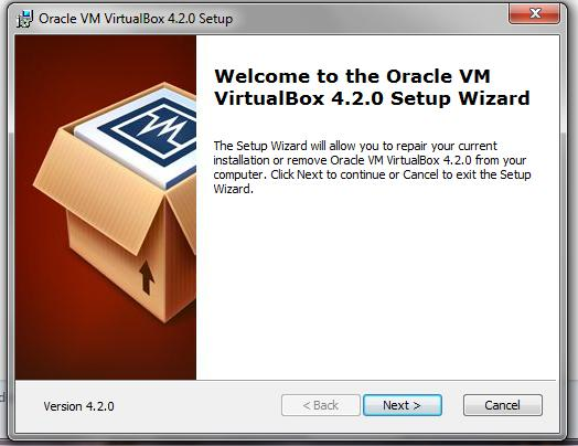 Step 2) Download and start the VirtualBox installer.