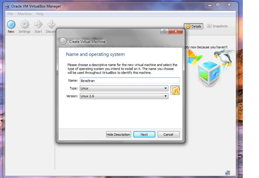 Step 4) Select name and type of virtual machine.
