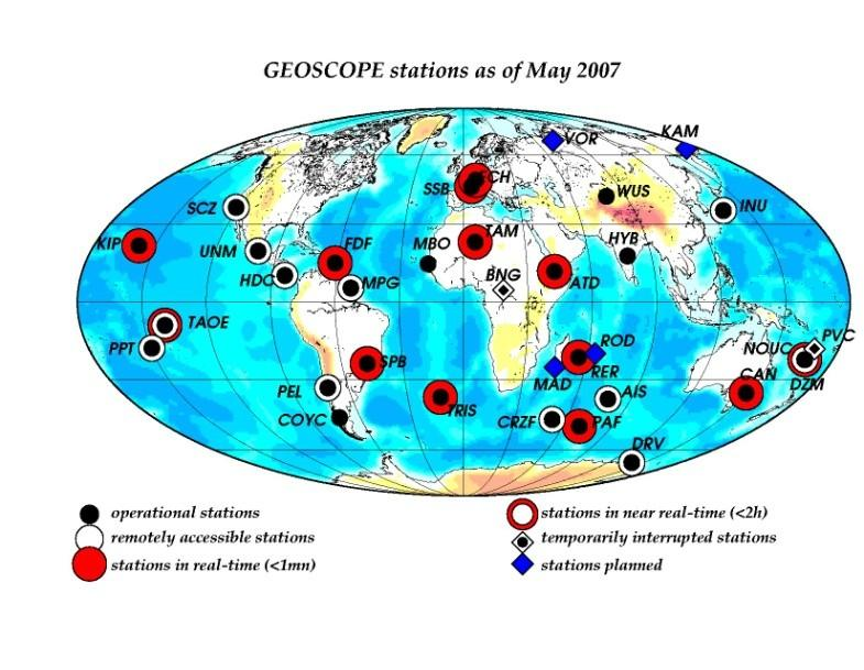 GEOSCOPE: determine the earthquake source Localization of