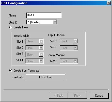 "Step 3. Select the input, output, and control modules. 3-1. Creating a new Unit configuration. Select ""Create New,"" and then modules from the pull-down menu."
