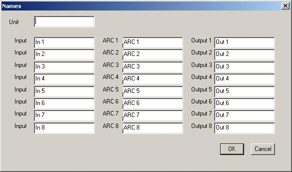5.8. Changing Equipment Names Select [Unit Names] from the menu to display a dialog box for name assignment.