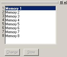 7. MEMORY VIEW The memory view is located at the lower left of the main screen. Memory view It shows the preset memory names and the preset memory numbers being currently selected.