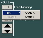 (3) Local grouping button [Local Grouping] Displays grouping within the channels for which Crossover Setting has been performed.