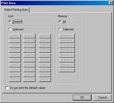 17. PRINTING THE SETTING DATA The setting data of the file being edited can be printed. Step 1. Select [File Print] from the menu. Dialog for print area is displayed. Step 2.