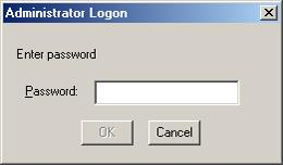 18.2. Logging on When the User Level is Enabled The following logon screen is displayed when the data file is opened after the user level has been enabled: When logging on as an administrator, enter