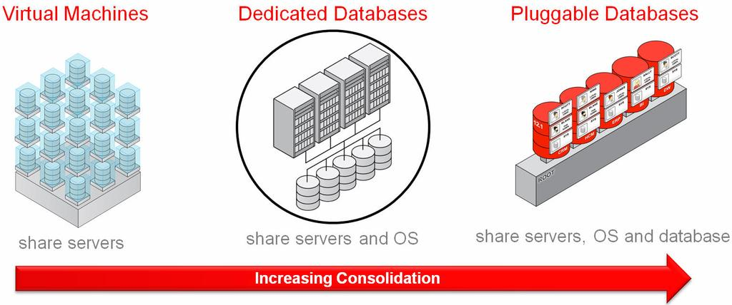 Figure 5: Consolidation schemes used today Oracle RAC One Node s OS consolidation model presents the system administrator with a single OS (per-server) to manage.
