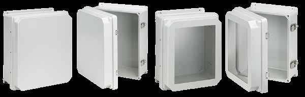 Fiberglass Overlapping Cover Raised Cover with Latches, Type X INDUSTRY STANDARDS UL 508A Listed; Type, R,, X, 12, 1; File No. E5 cul Listed per CSA C22.2 No 9; Type, R,, X, 12, 1; File No.
