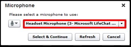 Chse the micrphne yu wuld like t use fr the call frm the drpdwn menu and then click n the Select and Cntinue buttn. 5.
