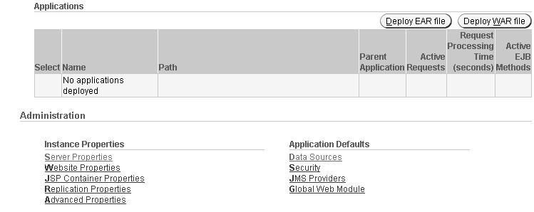 Figure 6 2 Oracle Enterprise Manager Server Properties By default, RMI/IIOP is disabled in an Oracle Application Server environment.