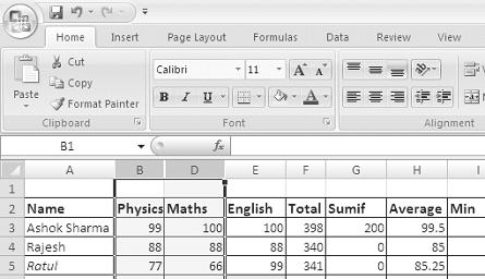 Formatting Worksheets :: 153 Unhide Selected Column(s) or Row(s) To