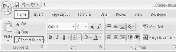 Formatting Worksheets :: 157 7.7 FORMAT PAINTER A handy feature on the standard toolbar for formatting text is the Format Painter.