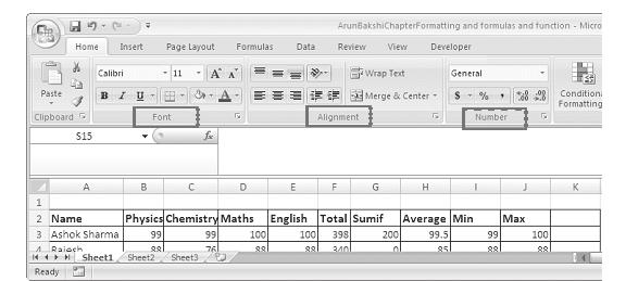 Formatting Worksheets :: 141 There are three locations where the Excel 2007 formatting tools are available. 1. In the home tab 2.