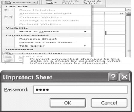 164 :: Data Entry Operations Choose Unprotect sheet from Drop Down Menu. Unprotect sheet dialog box will appear. Enter password to unprotect sheet.