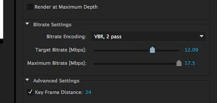 Under the H.264 container (format), you will have options for Bitrate settings. While you do not necessarily need to change any of these, doing so may improve export quality.