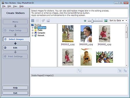 Selecting a Photo Стр. 110 из 334 стр. Advanced Guide > Printing from a Computer > Printing with the Bundled Application Software > Printing Stickers > Selecting a Photo Selecting a Photo 1.