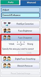 Using the Face Sharpener Function Стр. 128 из 334 стр. Effect levels can be changed using the slider below Face Sharpener.
