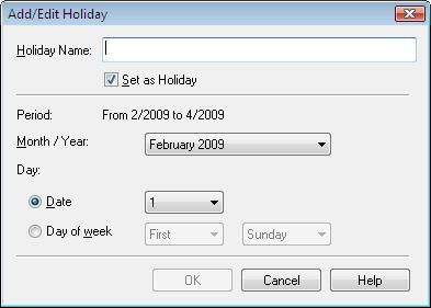 calendar. Click Set Holidays... in the Page Setup screen of Calendar, or click (Setup Period/Holiday) in the Edit screen and click Set Holidays.