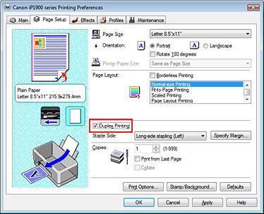 sheet of paper is as follows: 1. Open the printer driver setup window 2. Set duplex printing Check the Duplex Printing check box on the Page Setup tab. 3.