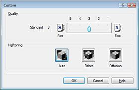 The procedure for setting the print quality level and the halftoning method is as follows: 1. Open the printer driver setup window 2.