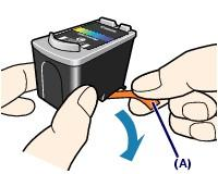 Take the new FINE Cartridge out of its package and remove the orange protective tape (A) gently.