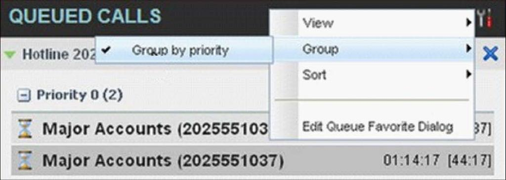 Group Queued Calls You can group queued calls by their priority bucket. To group or ungroup queued calls: In the Queued Calls pane, click Options.