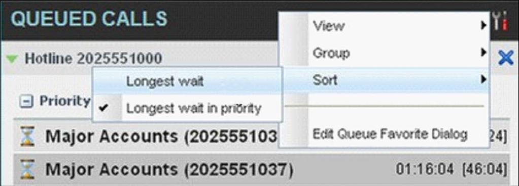 Queued Calls Options Group To ungroup calls, unselect the Group by Priority option.