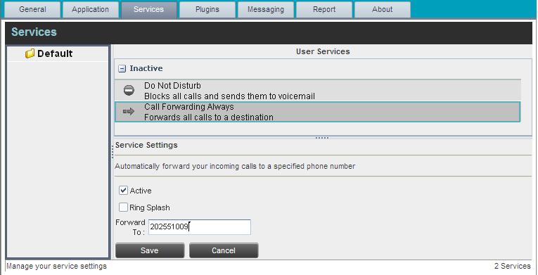 Settings - Services Settings Services You use the Services tab to configure various services assigned to you by your administrator on IP Centrex Standard Call Center, which are integrated with Call