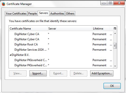 Appendix A: Steps for Using Plug-Ins Figure 16. Firefox Certificate Manager Click the Servers tab. Click the Import button.