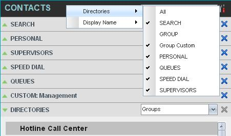 Manage Contacts View Contacts Call Center allows you to select directories to display in the Contacts pane and below the Call Console, show or hide directory contents, and select the order of