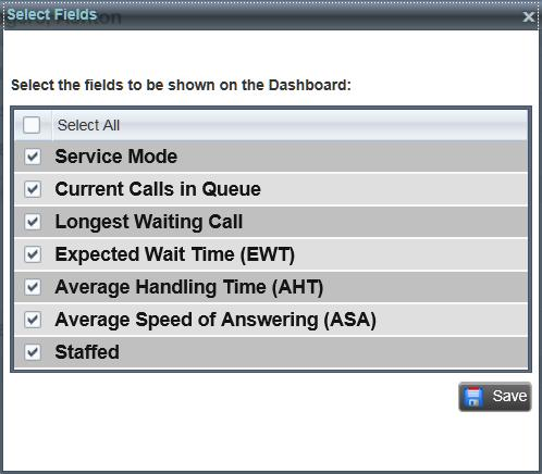 Select Information to Display Monitor Queued Calls (Agent) You can select which performance indicators you want to display in the Dashboard pane.