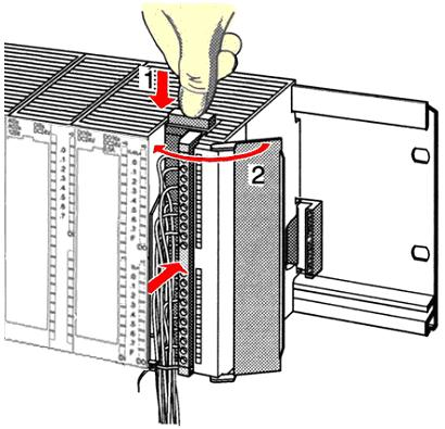 VIPA System 300S Assembly and installation guidelines Cabling 20pole screw connection 392-1AJ00 1. Open the front flap of your I/O module. 2. Bring the front connector in cabling position.