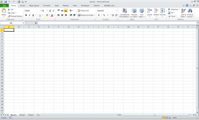 Launch Excel Click on Start Drag to Programs Choose Microsoft Office and click on Microsoft Office Excel 2010 Spreadsheet Layout Ribbon Active Cell Formula Bar Worksheets Views Excel opens with a