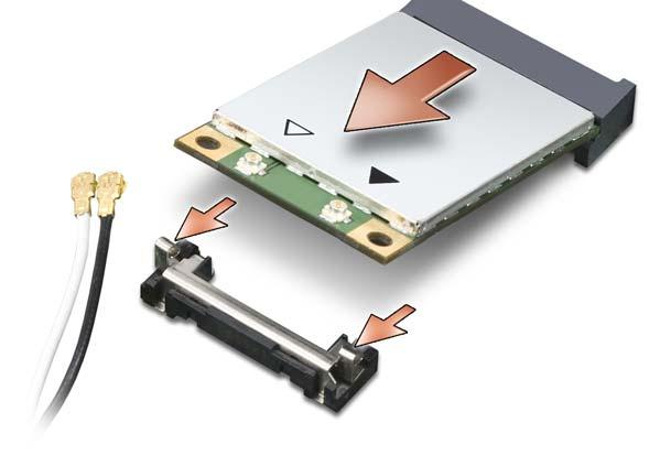 1 c Slide the card at a 45-degree angle out of its connector. NOTE: Do not insert a Mobile Broadband (WWAN) network card into the WLAN card connector.