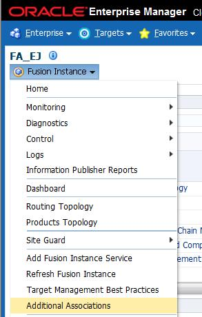 Go to Fusion Instance home page, click Fusion Instance drop down menu and select Additional Associations.