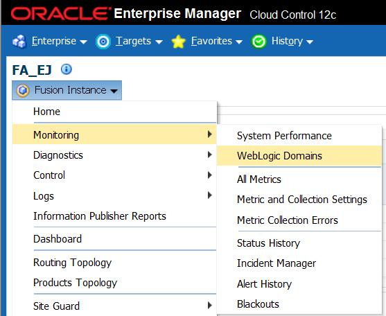 This page shows all the members of WebLogic Domains and Performance Summary of all
