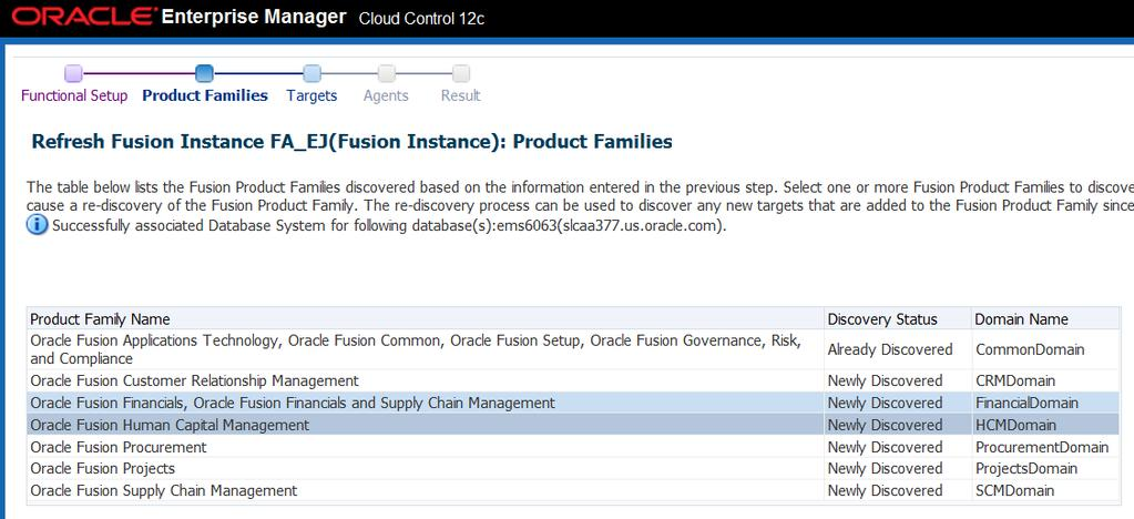 The second step is to select the Product Families to be added or altered.